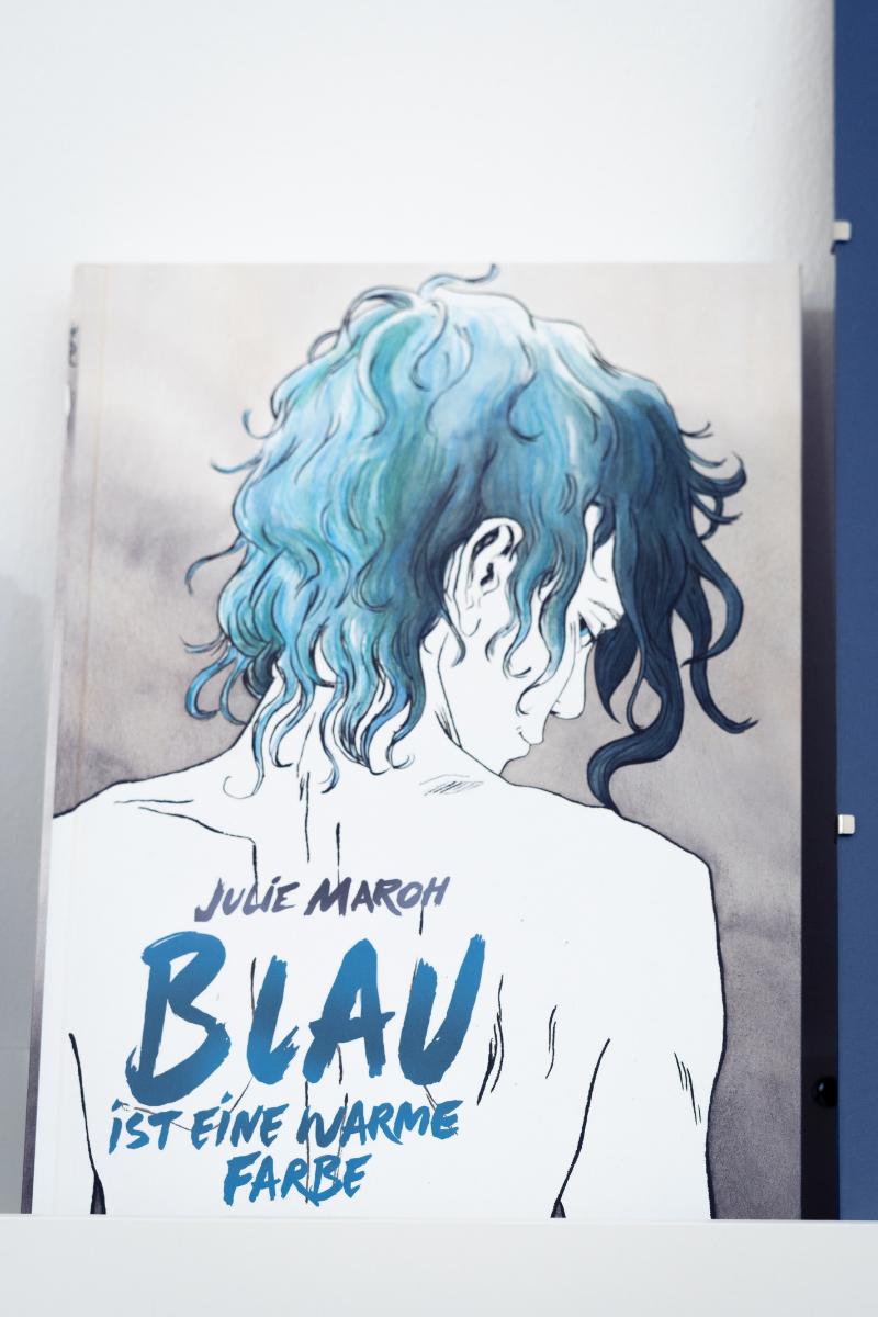 """Das Buch """"Blau ist eine warme Farbe"""" steht aufrecht mit dem Cover nach vorne im Regal."""