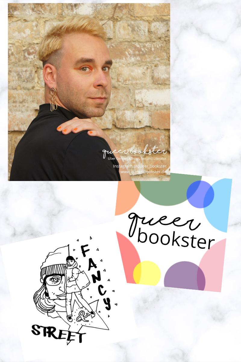 Foto von Chris der über die Schulter in die Kamera blickt. Darunter ein kleines Foto seines Logos als queer bookster und ebenfalls ein kleines Foto des Logos seines Podcasts Fancy and Street.